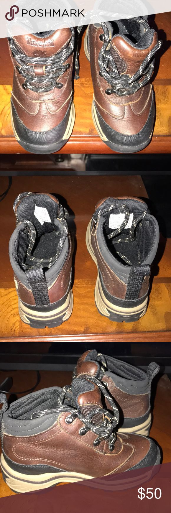 Boys timberland boots Boys size 8.5 brown and black timberland boots. Only worn a hand full of times. In excellent condition. Timberland Shoes Boots