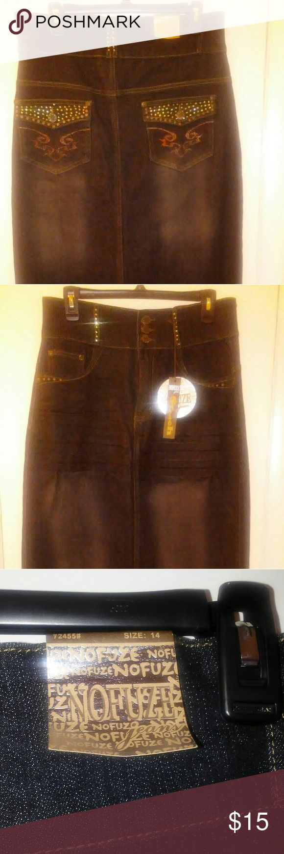 PRICE DROP!!!Long Dark Denim skirt Brand new. Long straight denim skirt. Size 14. Dark denim with faded areas. Split in back. See photos. no fuze jeans Skirts Pencil