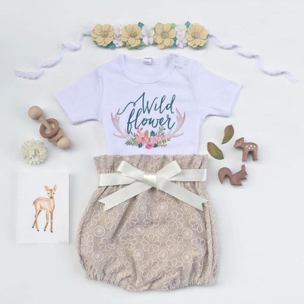 Boho Baby Outfit - Bloomers by Eighteen Fifty One, onesie by Lacey Lane, Floral Crown by Indi & Moo