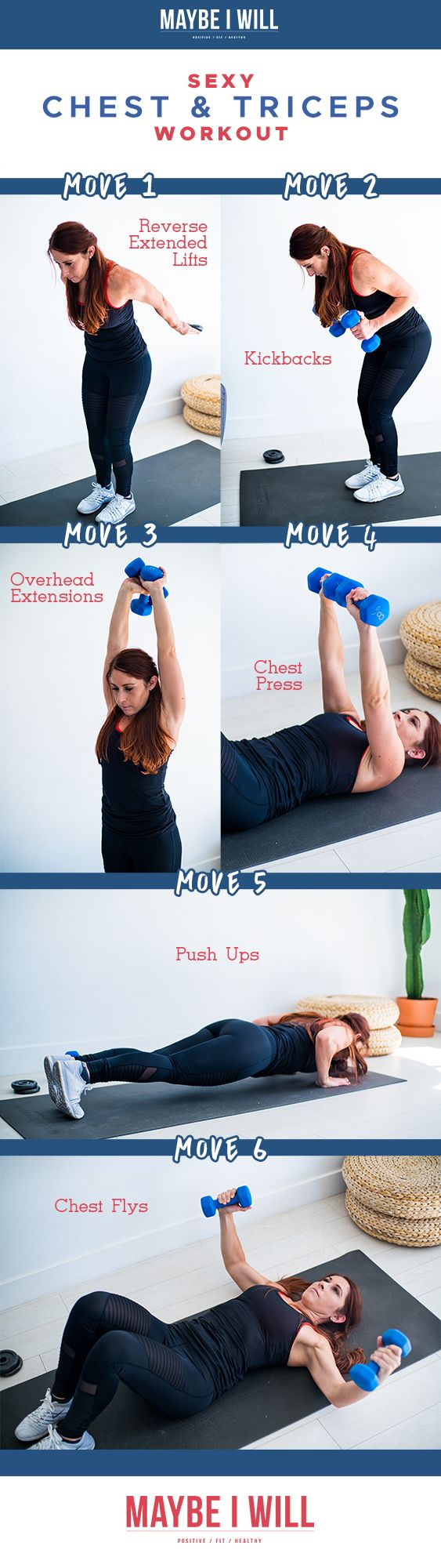 This chest and triceps workout is designed to sculpt & define! This workout will help you say good bye to your bat wings and hello to a perkier chest!  via @andiethueson