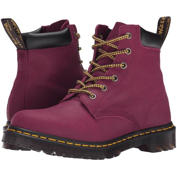 Dr. Martens 939 (Deep Red Greasy Suede) Women's Shoes (£43) ❤ liked on Polyvore featuring shoes, red, dr. martens, dr martens footwear, suede leather shoes, dr martens shoes and red platform shoes
