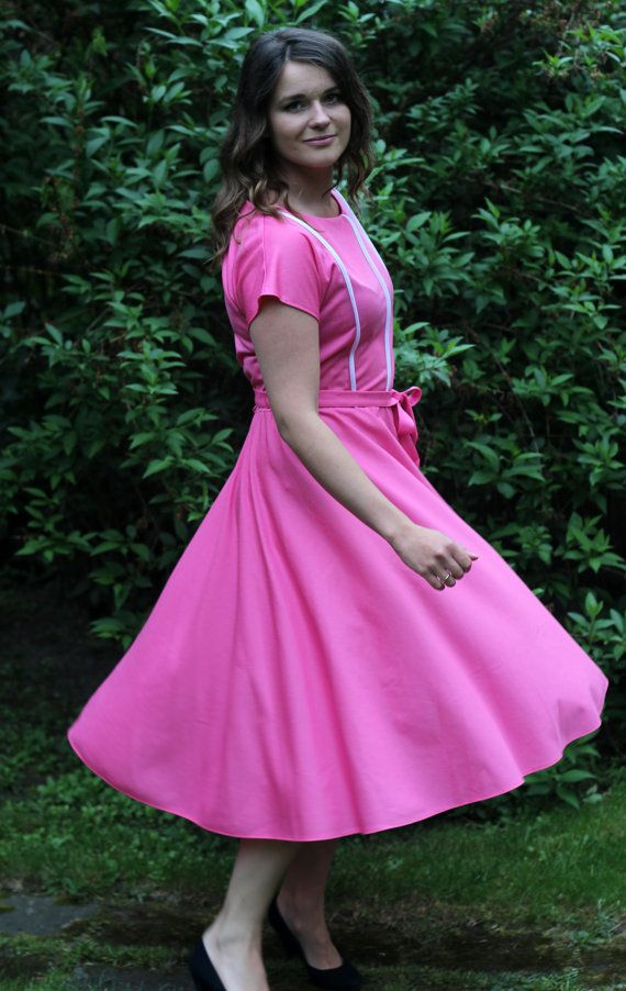 lovely Vintage pink midi Dress A line with a by VintagEraShop