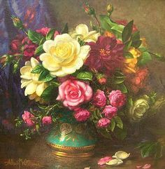 Albert George Williams  Roses in a Lustre Vase  20th century