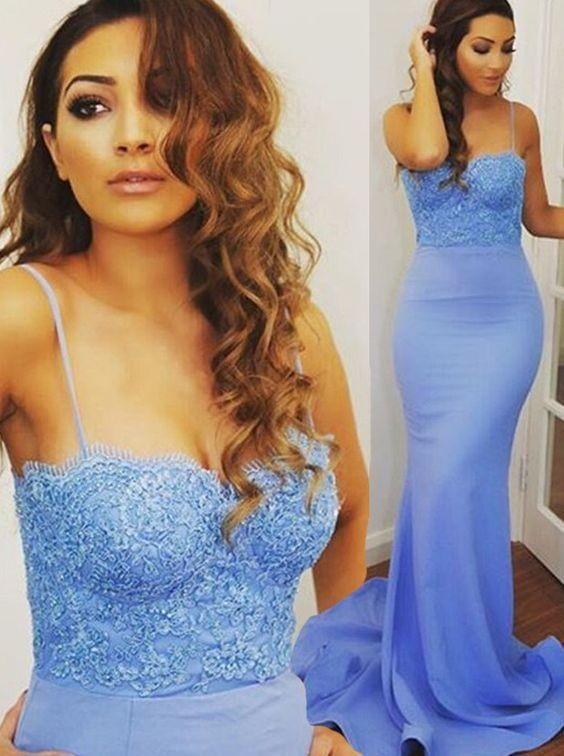 Skyblue Long Dresses Party Evening Spaghetti Straps Lace Appliques Sweetheart Fitted Slim Prom Gown For Women Backless Formal Dress Evening Formal Dresses Evening Long Dresses From Dressonline0603, $106.79| Dhgate.Com