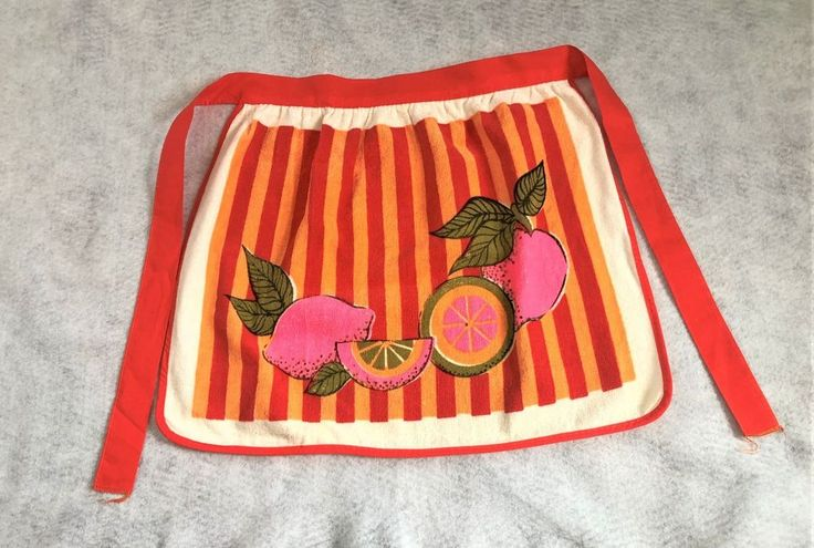 NWT Vintage Terry Cloth Apron Bright Orange Bright Pink Fruit Morgan Jones 1960s