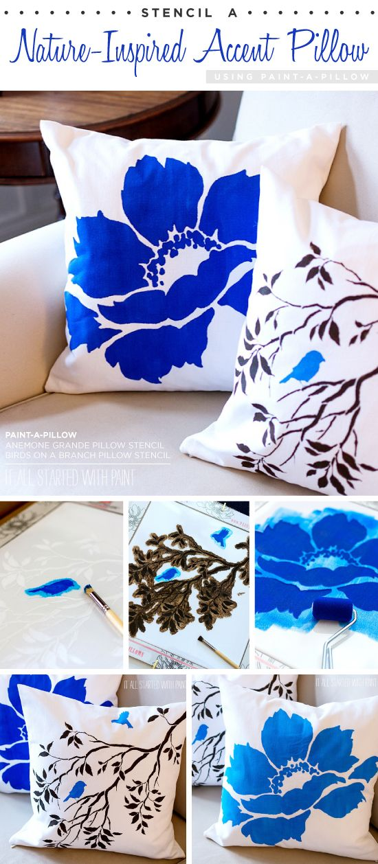 Cutting Edge Stencils shares DIY nature-inspired accent pillows using the Birds…