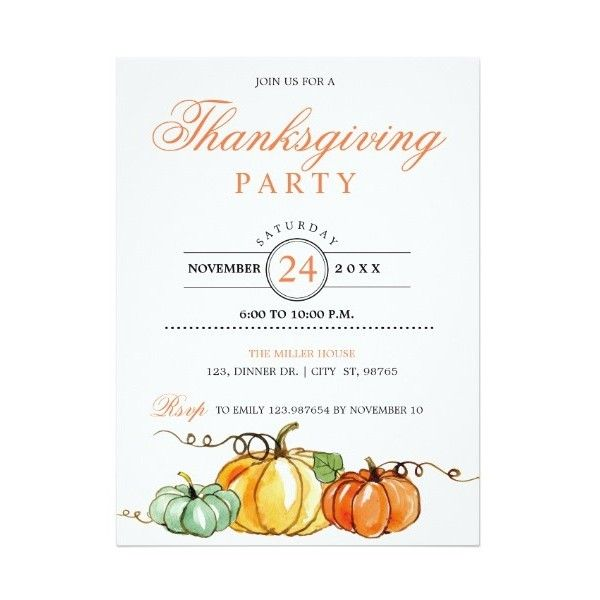 Thanksgiving Party Pumpkins Invitation Card ($1.45) ❤ liked on Polyvore featuring home, home decor and stationery