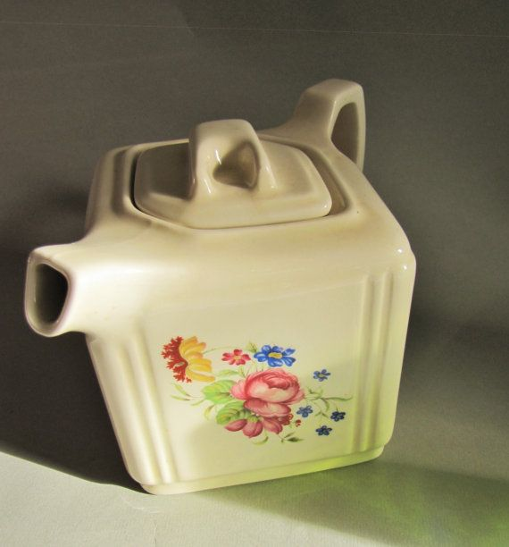 Cube Teapot Pink Blue Posey by Kernewek Cornwall Square shape