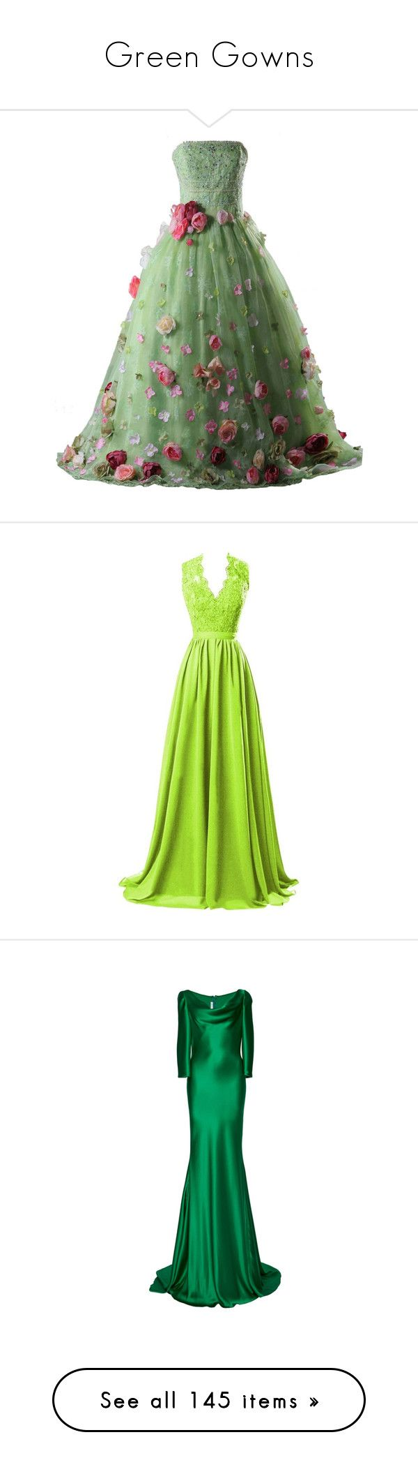 """""""Green Gowns"""" by srta-sr ❤ liked on Polyvore featuring smrgowns, dresses, gowns, doll clothes, flower print dress, green evening dresses, floral print evening gown, quinceanera dresses, floral gown and gown"""