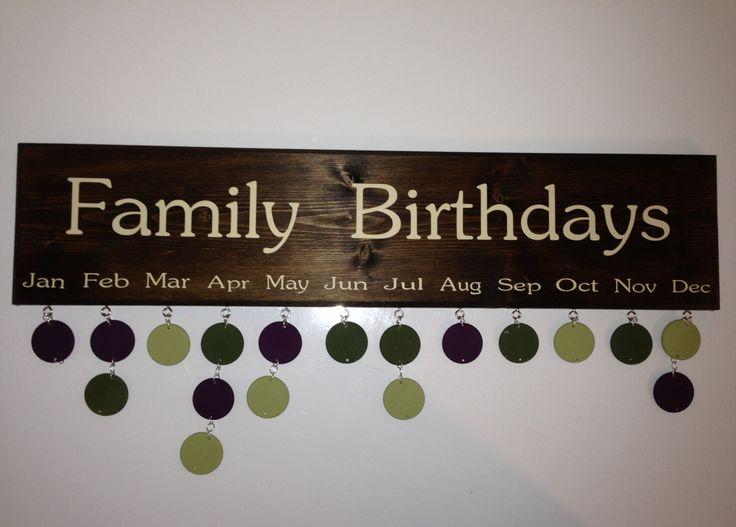 Family Birthdays Calendar  Wall Hanging by BirthdayBoard on Etsy, $45.00