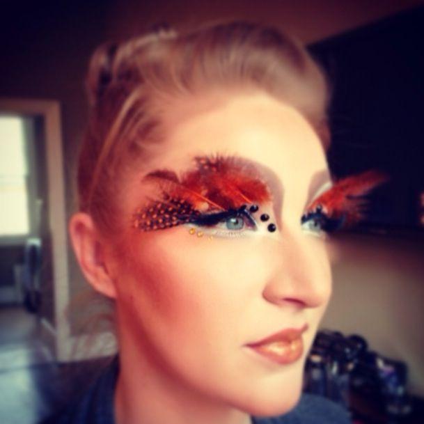Couture Makeup done by me @Davinia Huntley Huntley@DFMA   #couturemakeup #makeup #beauty #couture #style #fashion #art #highfashion #lashesh #feathers #gemstone #blockingbrows