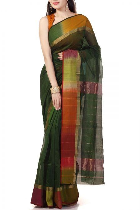 Green & Rainbow Border Cotton Silk Maheshwari Saree