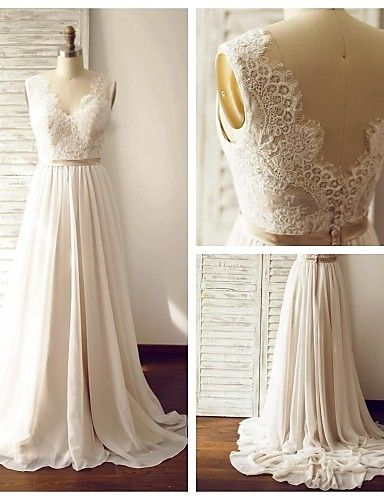 A-line Wedding Dress - Champagne Court Train V-neck Chiffon / Lace 2016 - $129.99