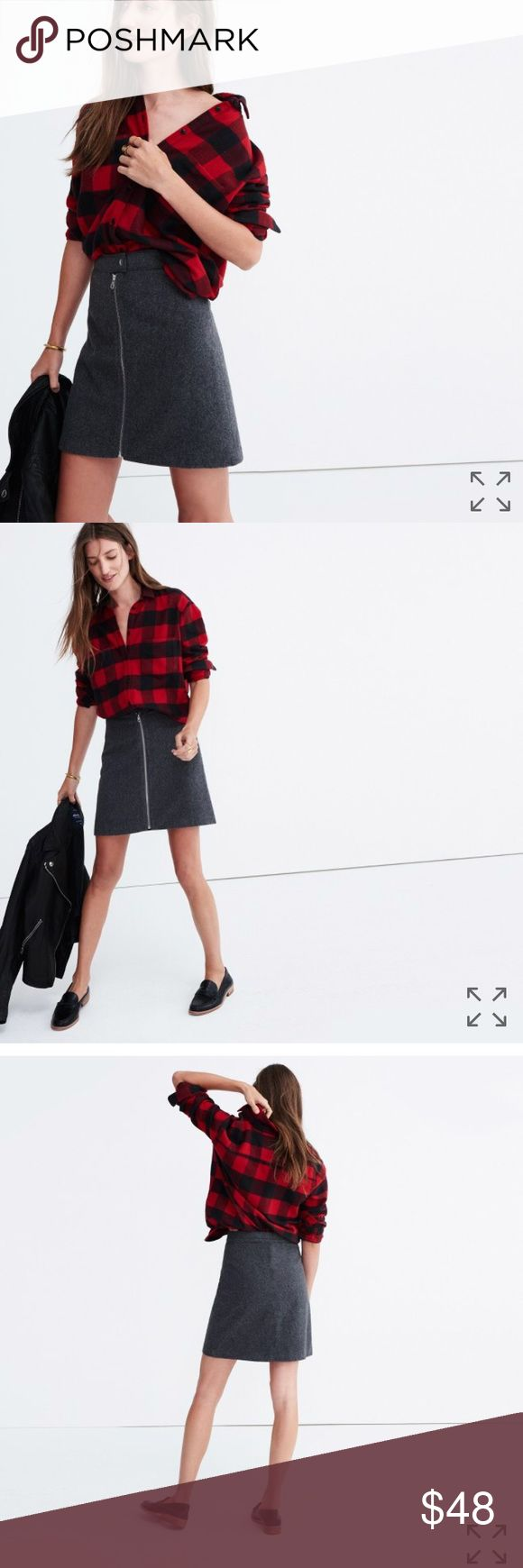 """Madewell studio zip skirt In Hthr blackbird. Sold out.   A plush velvet mini skirt with a fresh all-the-way-down zipper. An office no-brainer that can be your party plus-one too.  A-line skirt. 17 3/4"""" long. Cotton/spandex. Machine wash. Import. Madewell Skirts Mini"""
