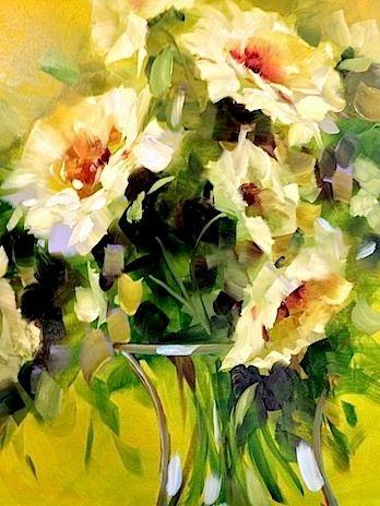 Three of a Kind White Roses by Texas Flower Artist Nancy Medina, painting by artist Nancy Medina
