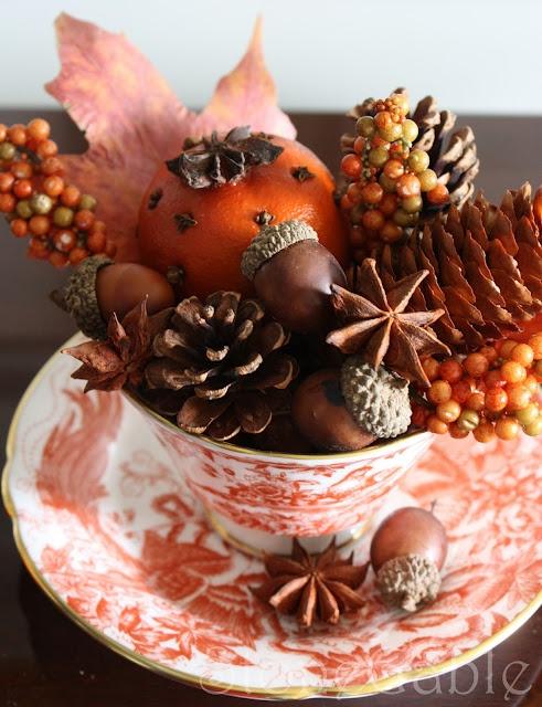 """A little fall """"je ne sais pas""""  :): Fall Decor, Teas Cups, Autumn Teas, Fall Teas, Accent Tables, Teacups, Tables Decor, Autumn Splendor, Autumn Thanksgiving"""