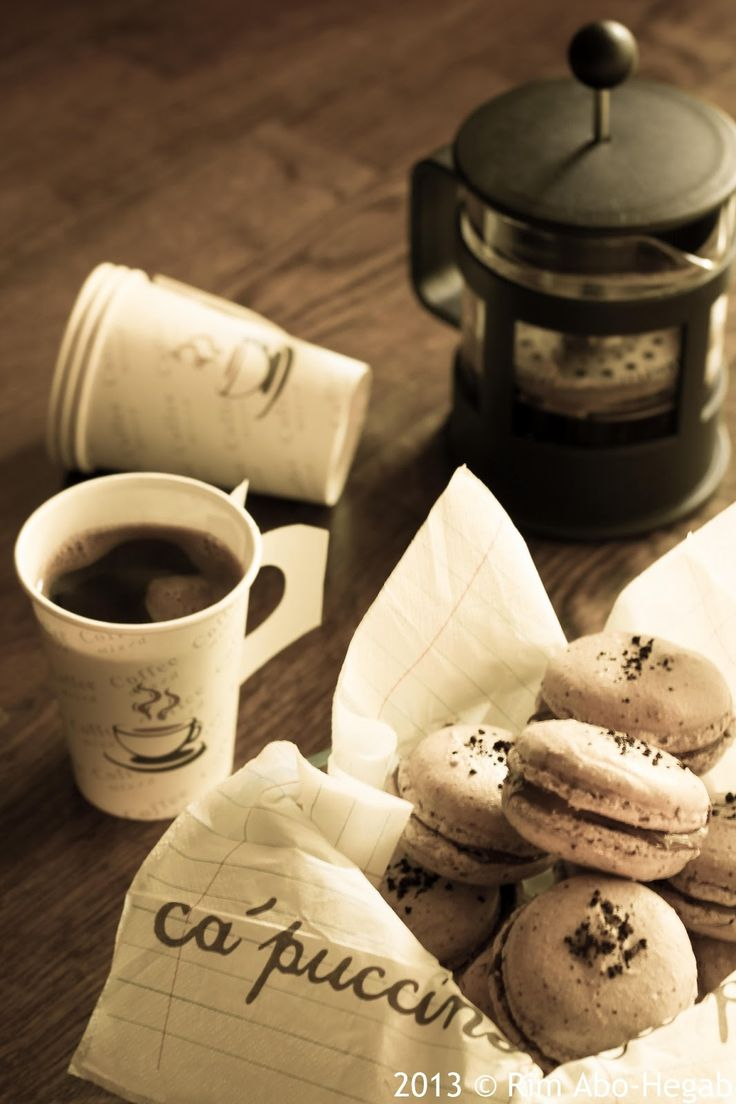 Coffee macarons with nutella filling love this picture. and nutella macaroons could be amazing