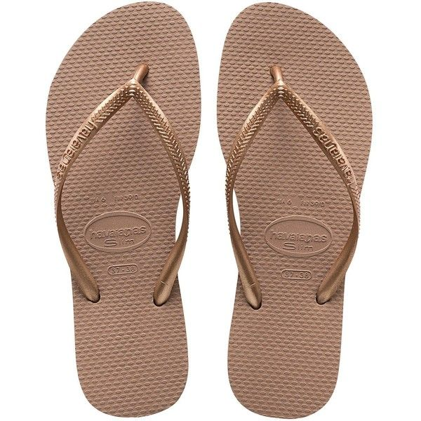 Havaianas Havaianas Slim Rose Gold Flip Flop Sandal (€27) ❤ liked on Polyvore featuring shoes, sandals, flip flops, havaianas, slim flip flops, havaianas shoes, slim shoes and rose gold sandals