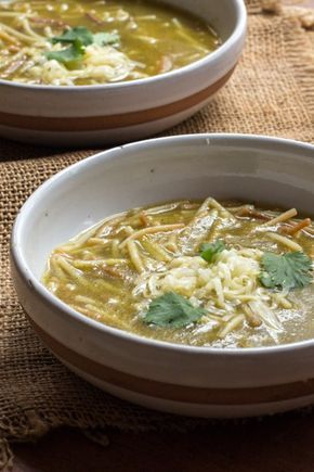 Sopa de Fideo Verde (Green Spaghetti Soup) | The Wimpy Vegetarian