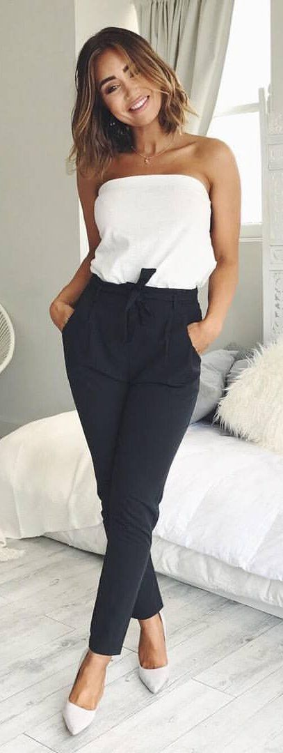 #spring #outfits White Off The Shoulder Top + Black Pants + Grey Pumps ✨