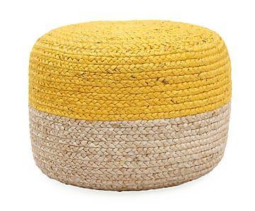 handgeflochtener pouf bono naturfarben gelb 51 cm. Black Bedroom Furniture Sets. Home Design Ideas