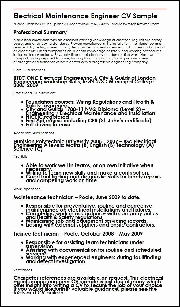 Electrical Engineering Resume Examples Elegant Electrical Maintenance Engineer Cv Example Myperfectcv Engineering Resume Resume Examples Electrical Maintenance