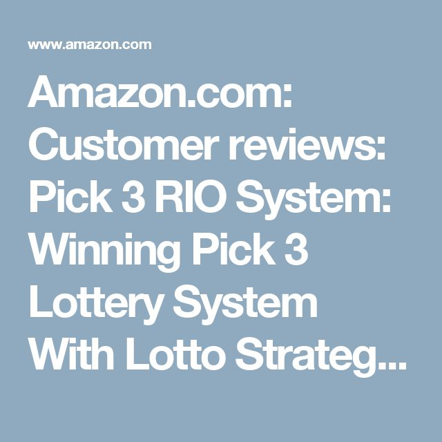 Amazon.com: Customer reviews: Pick 3 RIO System: Winning Pick 3 Lottery System With Lotto Strategies That Work For NJ, NC, CA, IL, TX, OH, MA, VA, SC, and FL Daily 3 Games
