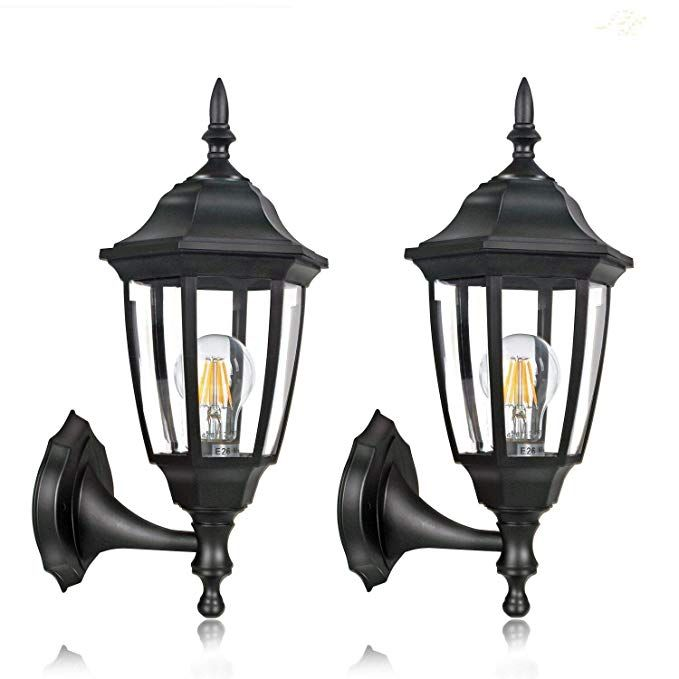 Fudesy 2 Pack Outdoor Wall Lanterns Corded Electric 12w Plastic Led Exterior Wall Lights Waterpro Porch Light Fixtures Led Exterior Wall Lights Led Porch Light