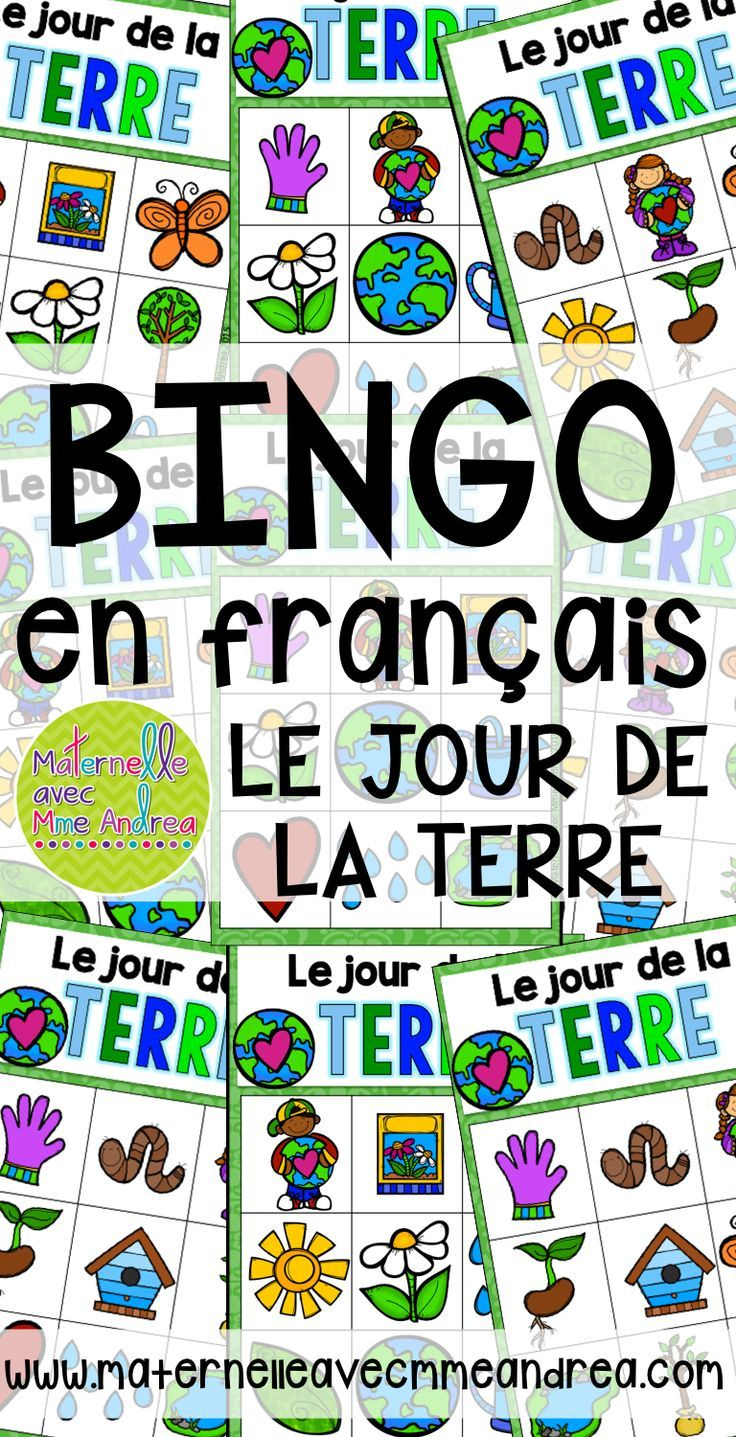 Bingo pour le Jour de la Terre FRENCH Earth Day Bingo vocabulaire