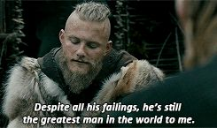 """VIKINGS : johnwgrey: Our father betrayed a whole... When Bjorn spoke of Ragnar being """"called a god. He's not a god, he's a man."""" Alexanander's facial and vocal inflections we're so much Ragnar-like. I'm sorry I don't remember what episode, but I think it was in Season 1."""
