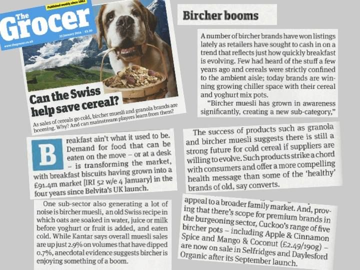Good news for Bircher muesli in The Grocer