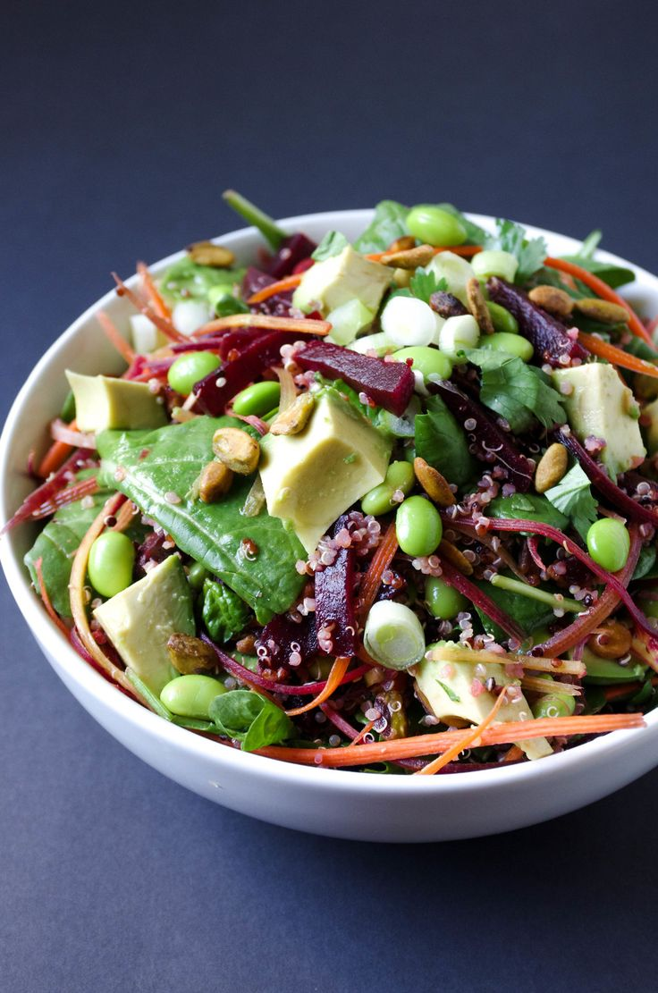 Beet, Avocado + Quinoa Salad with Herb Vinaigrette — coffee & crayons