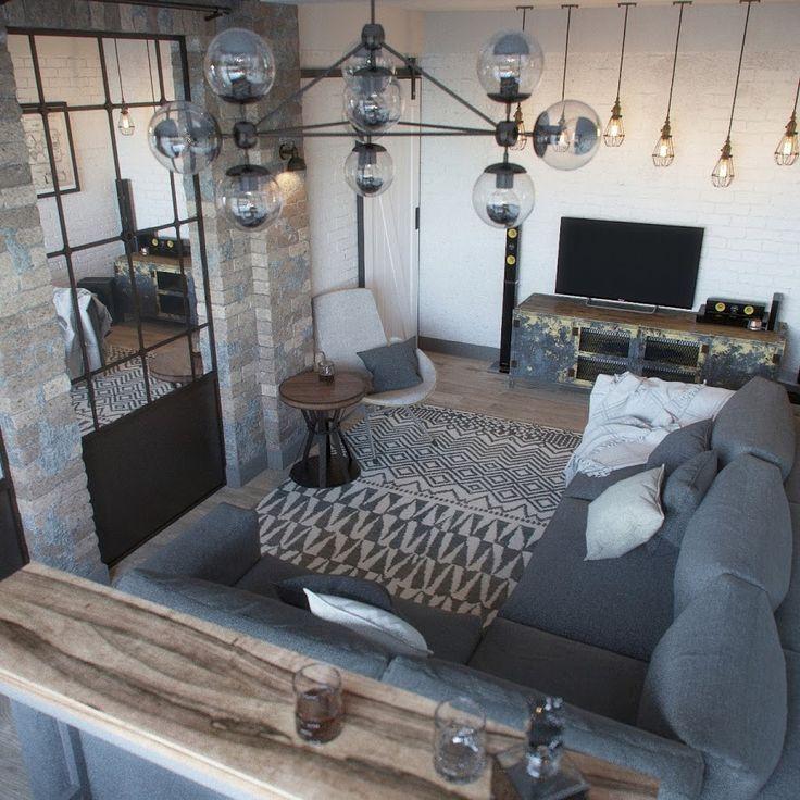 Propuesta de diseño de apartamento tipo loft industrial   Decoración