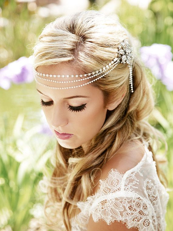 crystal bridal headpiece, hair chain, forehead piece, silver headband  SALE, was $102 Pretty Silver and Crystal Jewelry for your hair! This silver crystal hair chain is quite the head-turner. Three strands of crystal chain (one strand has larger crystals than the other two) drape over the front or back of your head and are attached to lovely silver rhinestone clips at each end. What a way to create some drama and add some brilliant sparkle to your ensemble. I have two of this listing since I…