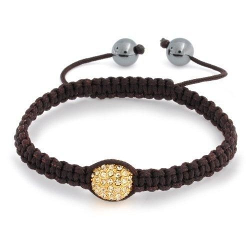 Bling Jewelry Gold Crystal Bead Brown Shamballa Inspired Bracelet Hematite Ball