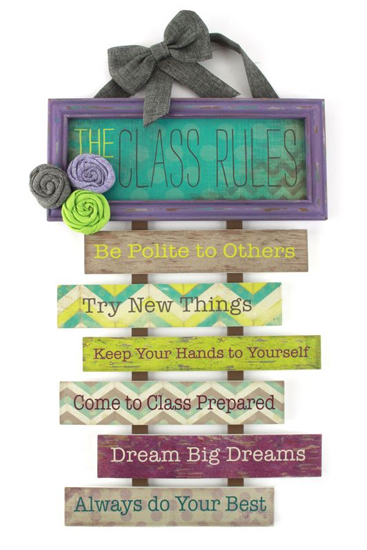 Mardel Classroom Decor ~ Retro chic collection class rules wall plaque
