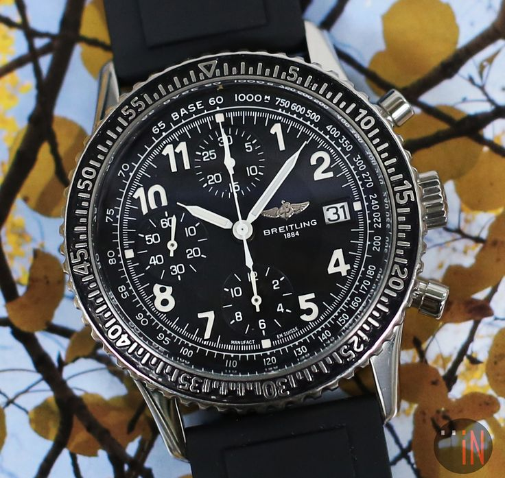"""""""Trees iN Sight!"""" #Breitling 42mm Navitimer Aviastar Chronograph Ref#: A13024 ($3,375.00 USD) http://www.elementintime.com/Breitling-Navitimer-Aviastar-A13024-9479-Stainless-Steel"""