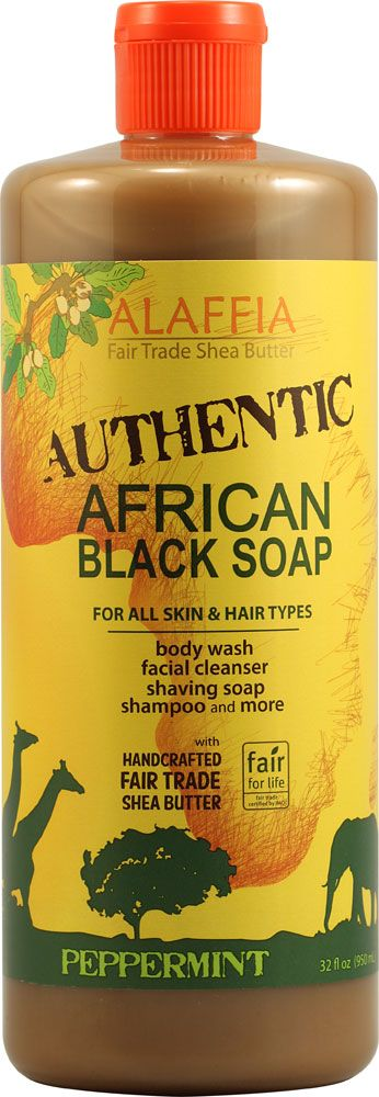 Alaffia African Black Soap For All Skin and Hair Types Peppermint -- 32 fl oz
