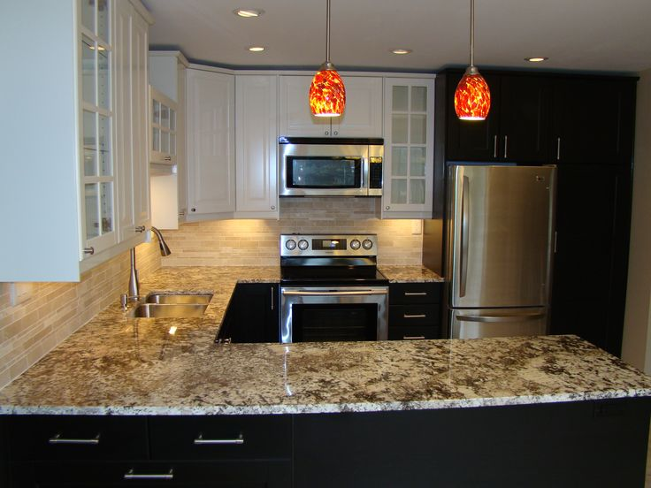 Ikea kitchen cabinets with ramsjo black brown doors at the bottom and lindingo white doors at - Ikea beech kitchen cabinets ...