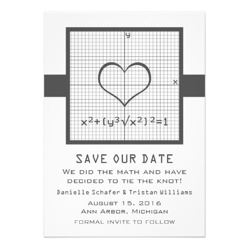 Gray Heart Math Graph Save the Date Invite #geek #nerd #wedding