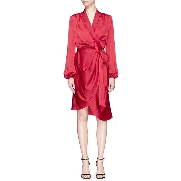 C/Meo Collective 'Influential' belted satin wrap dress (3.535 ARS) ❤ liked on Polyvore featuring dresses, red, red kimono, kimono dress, satin kimono dress, shirring dress and shirred dress