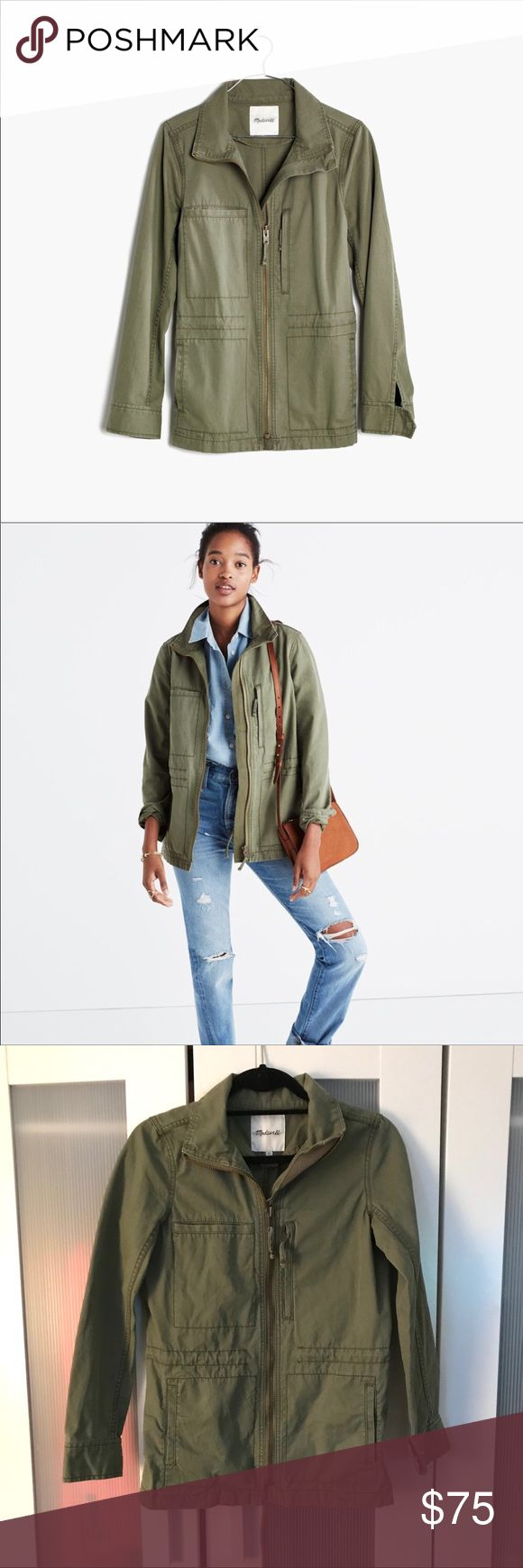 "Madewell ""Fleet"" Utility Military Jacket - Size XS A streamlined military-inspired style with clean lines, a stand-up collar, zip pockets and a waist-defining drawstring. It's a best seller and one you'll hold on to for years to come.    True to size. Cotton. Machine wash.  Excellent preowned condition.  Offers welcomed!  P15 Madewell Jackets & Coats Utility Jackets"