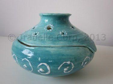 Ceramic Vase/Bowl/Candle Holder (2 piece set) (Blue/White) (Code 9021.11)
