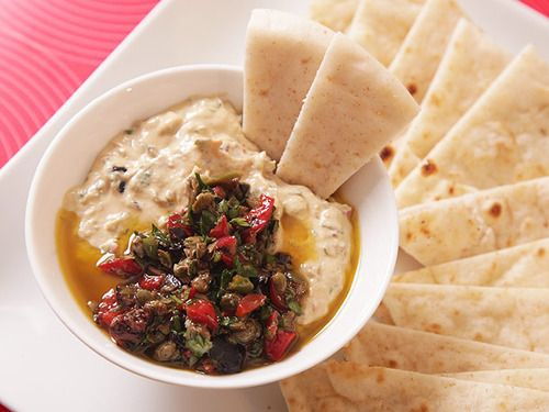 Humus with Chopped Olives, Parsley and Pimento Peppers