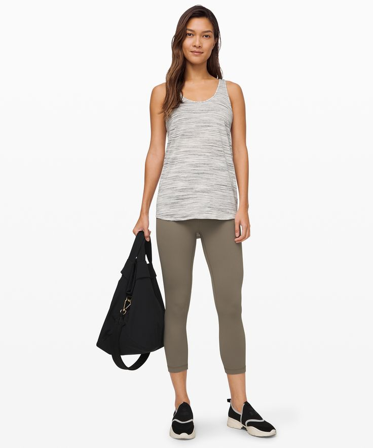lululemon Women's Essential Tank Pleated Seriously Light Luon, Space Dye Camo White Silver Spoon, Size 4 9