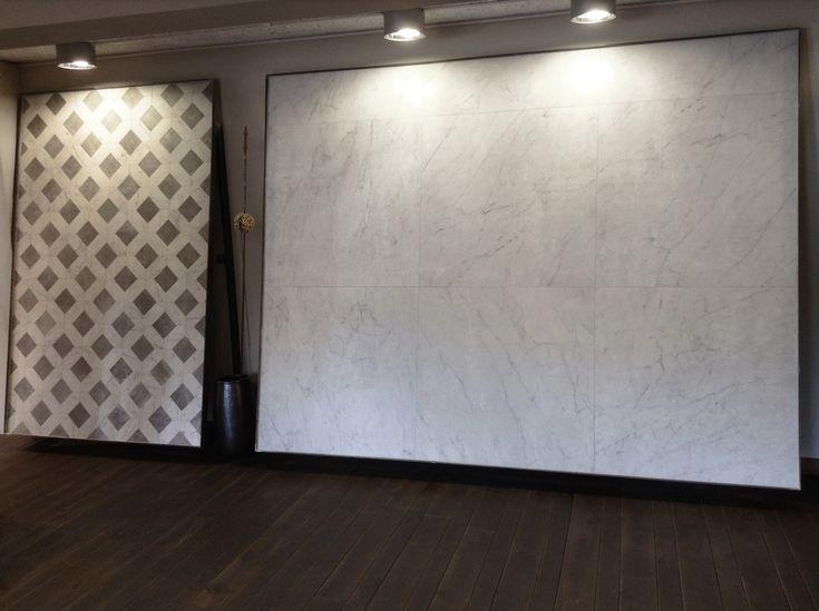 "Showroom in England with our CENTURIES collection.  Centuries Antique Pisa 100x100 cm.(40""x40"") Rett. - Cassettone Grey 39x39 cm. (15 1/3""x15 1/3"")"