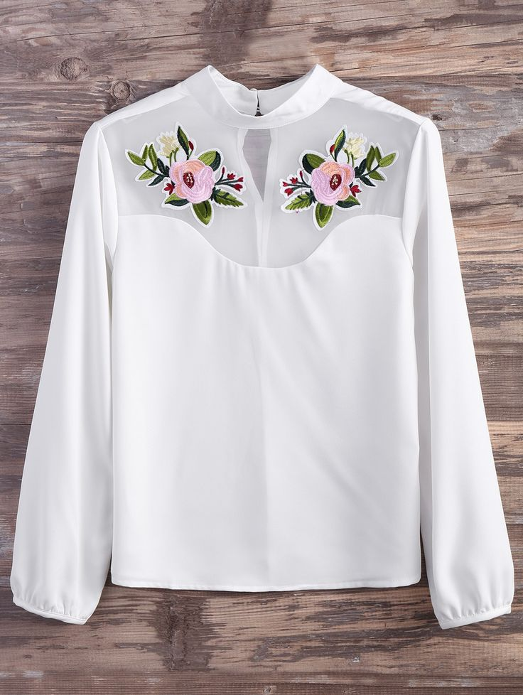 Mesh Panel Floral Embroidered Blouse WHITE: Blouses | ZAFUL
