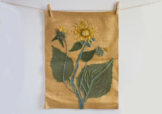 Vintage Burlap Wall Decor, Sunflower Applique, Rustic Wall Hanging, Handmade Floral Decor