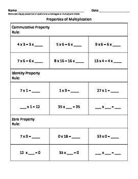 math worksheet : properties of multiplication  3rd grade math nbt 3  nbt a 3  oa  : Math Property Worksheets