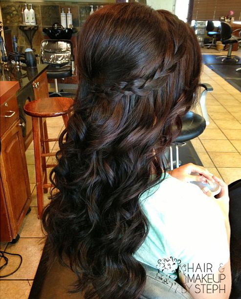 I love this!  Curled, but has a braid and is half up, with some poof!